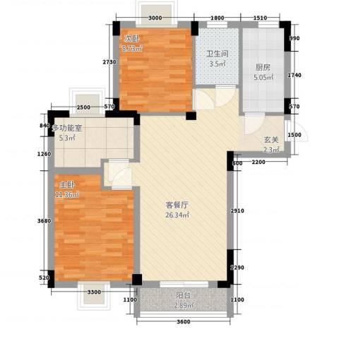 现代明珠新城加州国际2室1厅1卫1厨84.00㎡户型图