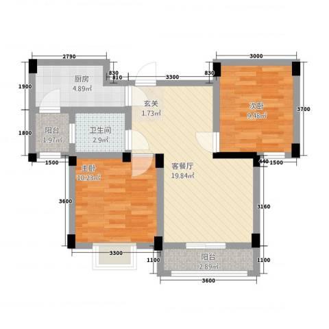 现代明珠新城加州国际2室1厅1卫1厨52.19㎡户型图