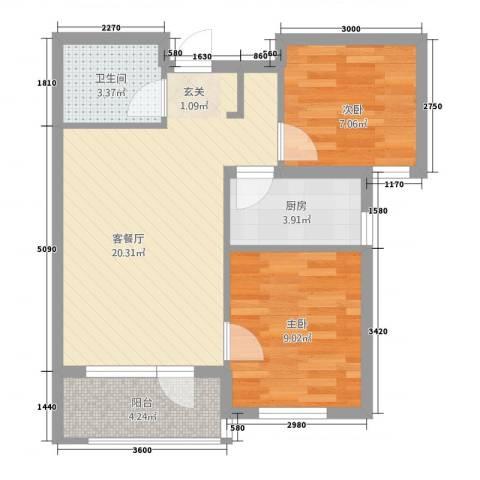 甜橙派2室1厅1卫1厨366.00㎡户型图