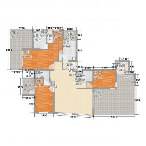 世茂蝶湖湾3室1厅3卫1厨216.00㎡户型图