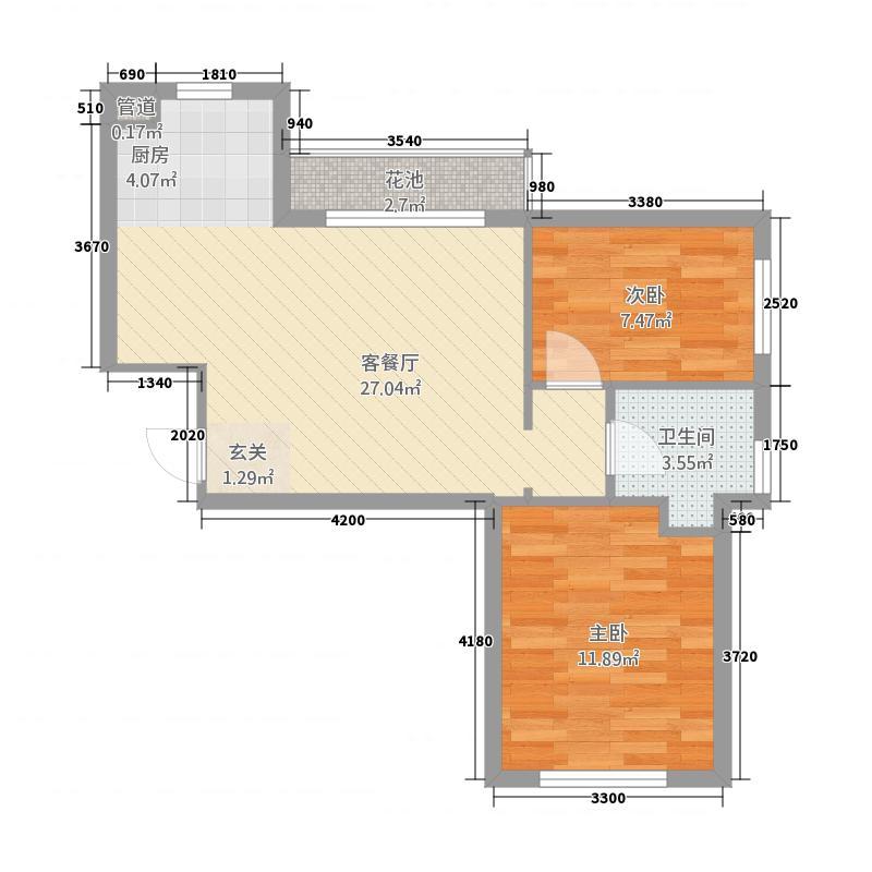 甜橙派2173.53㎡A2号楼A1户型2室2厅1卫1厨