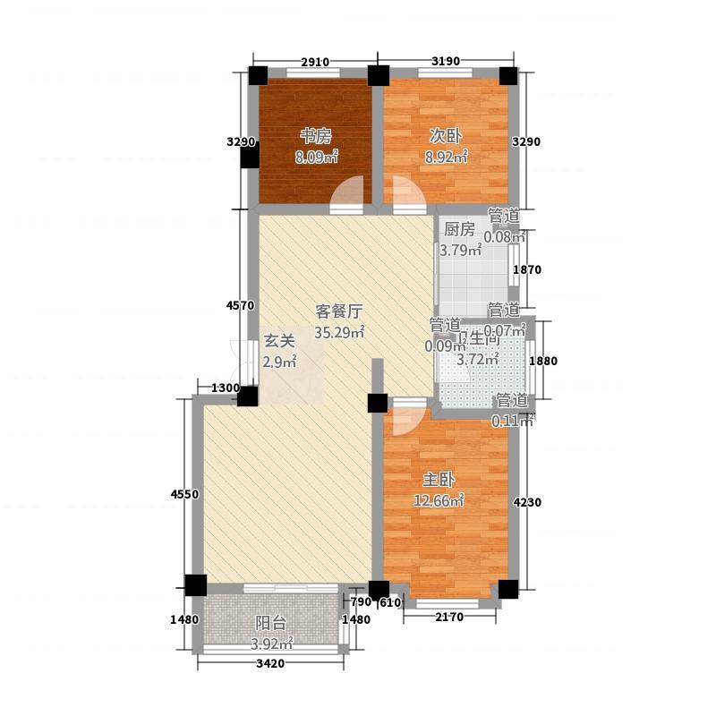 碧水明珠3.20㎡户型3室2厅1卫1厨