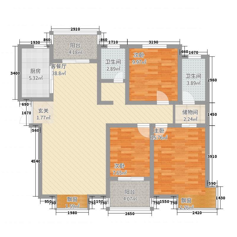 壹号公园1322137.63㎡A户型3室2厅2卫1厨