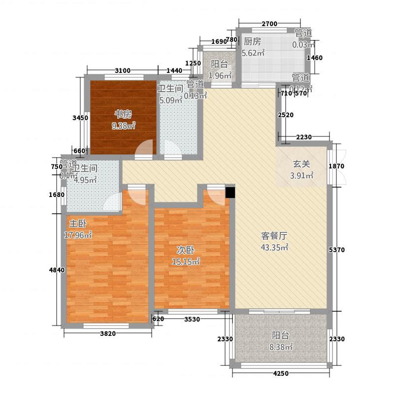 紫桂苑1322142.25㎡D户型3室2厅2卫1厨