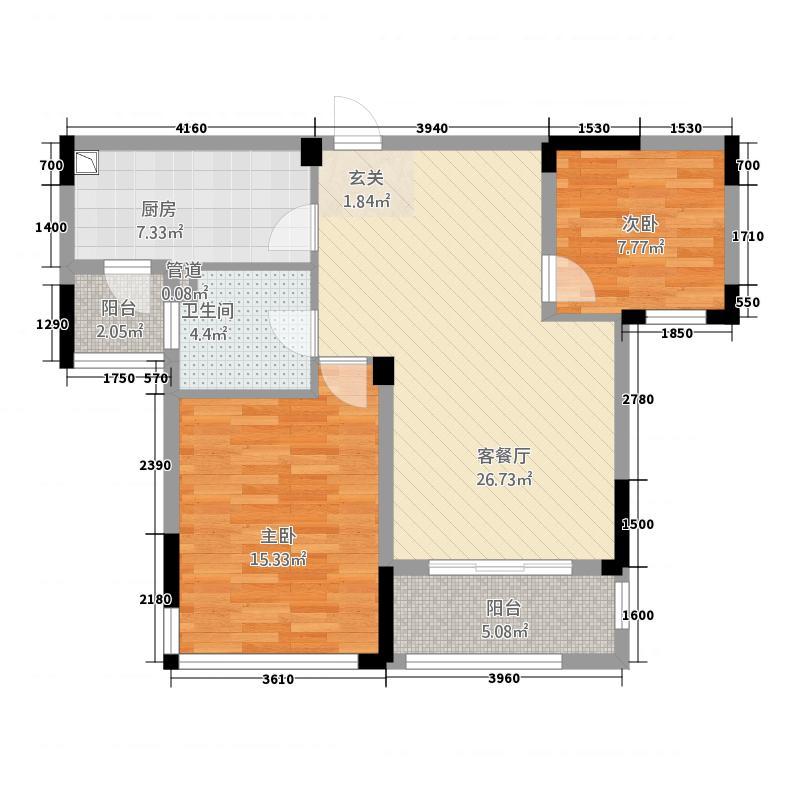 凯旋公馆2287.20㎡A户型2室2厅1卫1厨