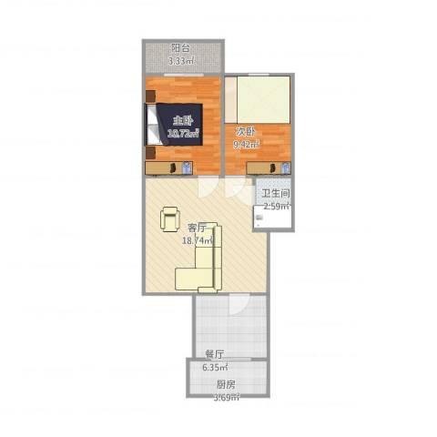 新科花园2室2厅1卫1厨74.00㎡户型图