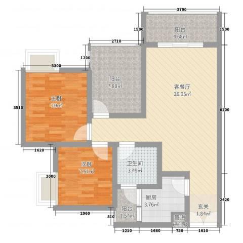 恒森・摩登时代2室1厅1卫1厨87.00㎡户型图