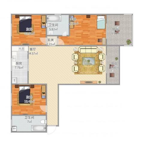 龙头花园3室1厅2卫1厨167.00㎡户型图