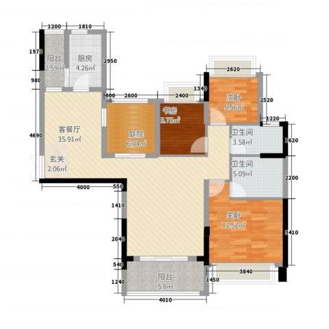 瑞海尚都3室1厅2卫1厨21116.00㎡户型图