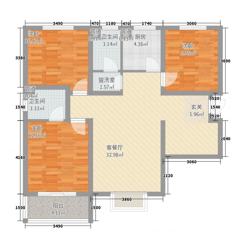 紫金蓝湾5111.71㎡B5-D1户型3室2厅2卫