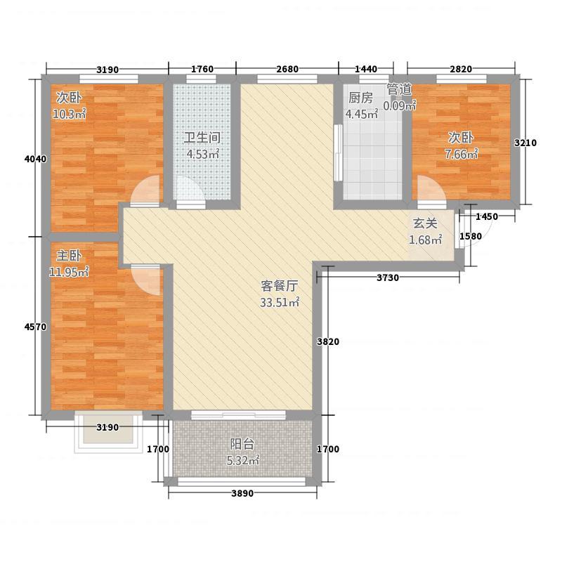 奥伦达部落居易世界观112.52㎡13#A户型3室2厅1卫1厨