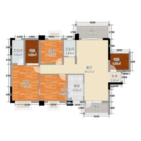 祥和新城5室1厅2卫1厨112.68㎡户型图