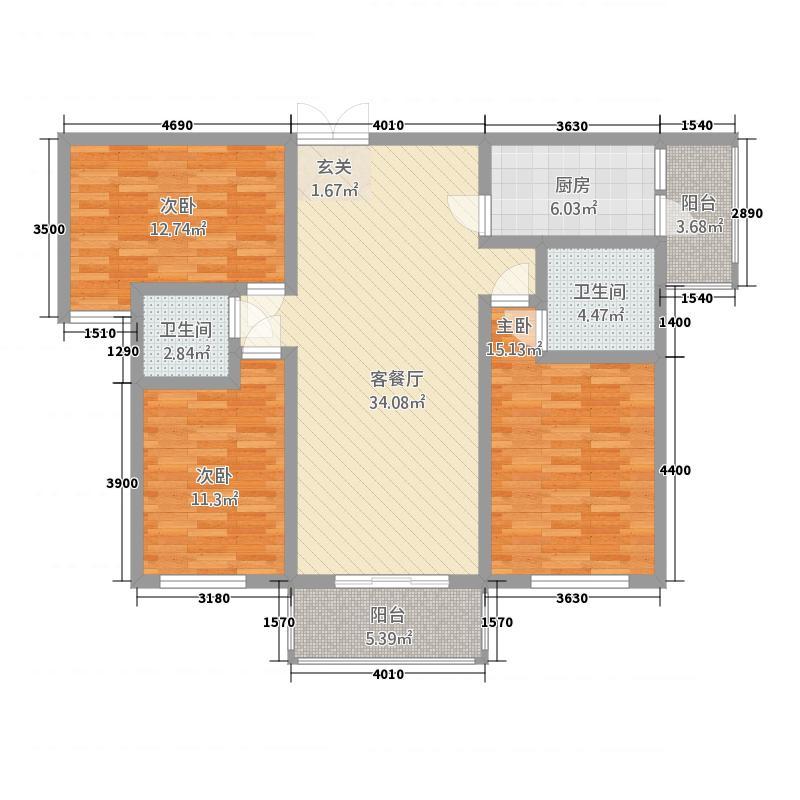 总工会小区3.20㎡户型3室2厅2卫1厨