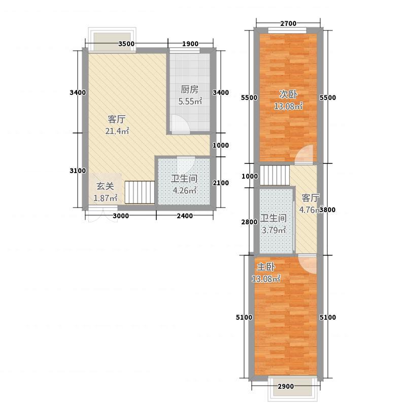 西岸国际4.18㎡07户型2室2厅2卫1厨