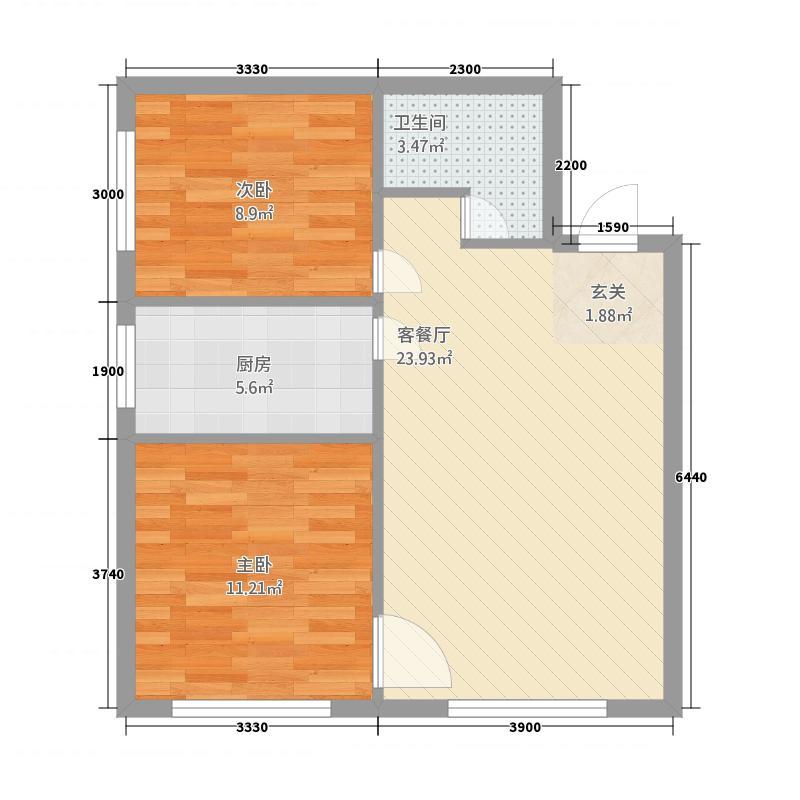 力鼎新城2172.72㎡B户型2室1厅1卫1厨