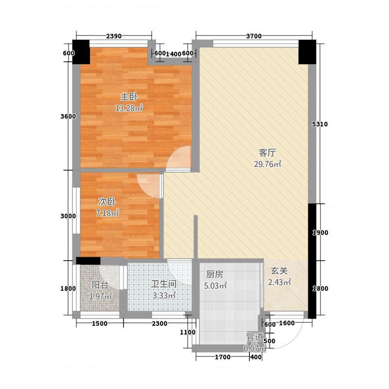 世纪美郡4181.71㎡4-1-B户型2室2厅1卫1厨