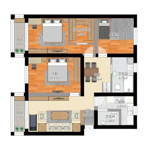 朝晖八区3室1厅2卫1厨129.00㎡户型图