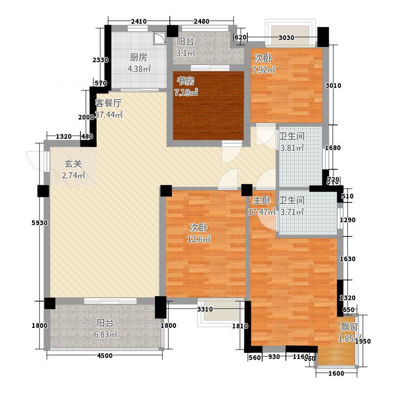 汉旺世纪城732136.25㎡c户型3室2厅2卫1厨