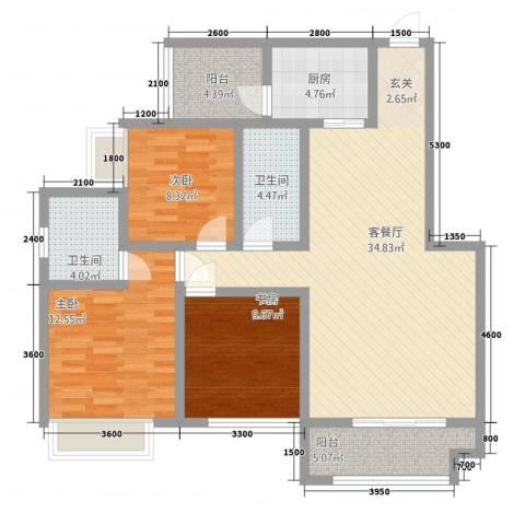 华升・睿尚城3室1厅2卫1厨88.08㎡户型图