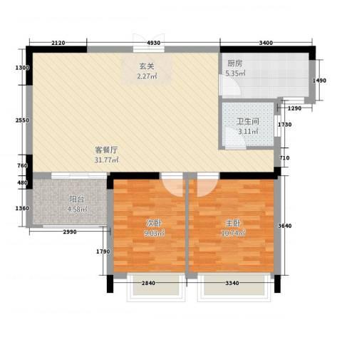 瑞海尚都2室1厅1卫1厨2388.00㎡户型图