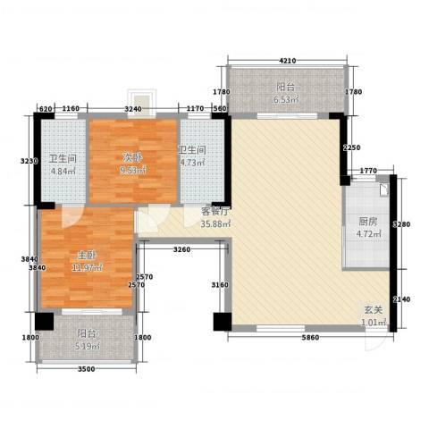 福泰海湾新城2室1厅2卫1厨1113.00㎡户型图