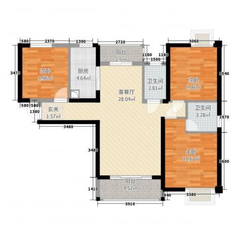 万益广场3室1厅2卫1厨4611.00㎡户型图