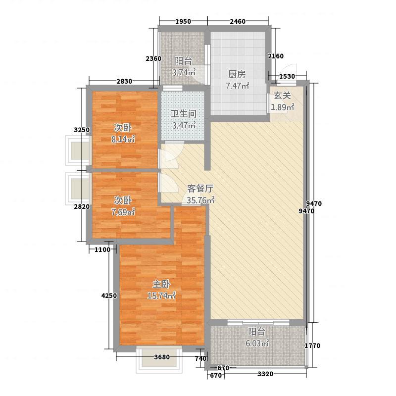 坤泰中央名门1111.20㎡B1户型3室2厅1卫1厨