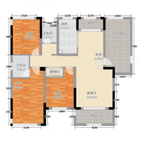 凯旋公馆3室1厅2卫1厨32135.00㎡户型图