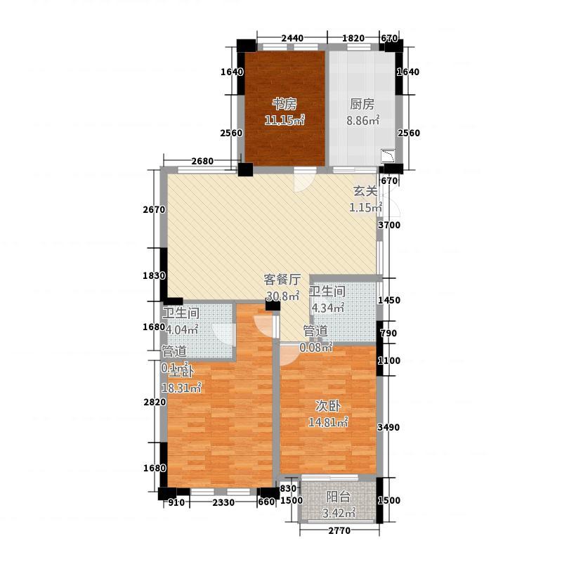 金城华府2126.20㎡高层G2户型3室2厅2卫1厨