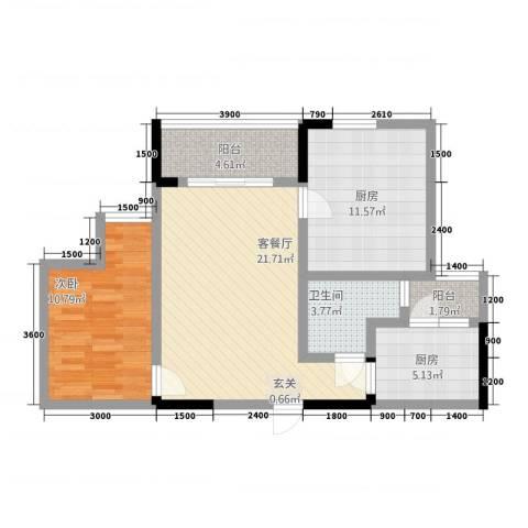 三峡明珠大厦1室1厅1卫2厨879.00㎡户型图