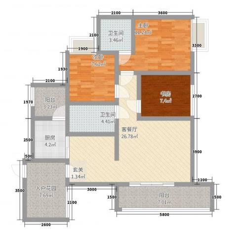 华升・睿尚城3室1厅2卫1厨83.04㎡户型图