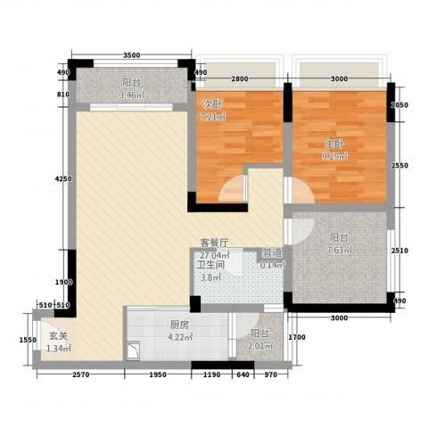 海亮国际广场2室1厅1卫1厨324.00㎡户型图