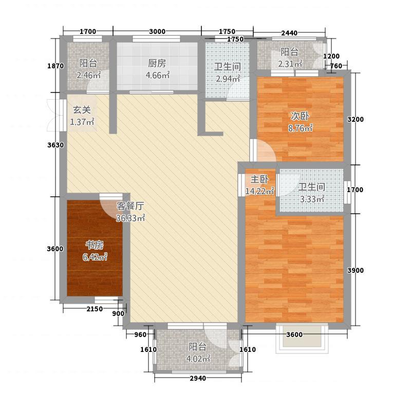 汇金国际二期116.72㎡五号楼C户型3室2厅2卫1厨