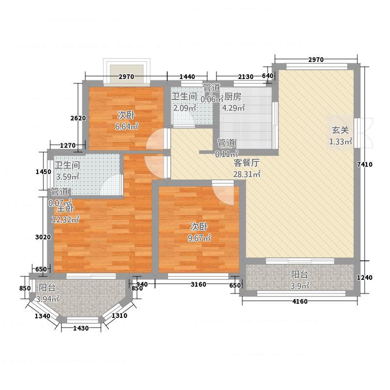 中南世纪雅苑111.20㎡一期1-17幢标准层C2户型3室2厅2卫1厨