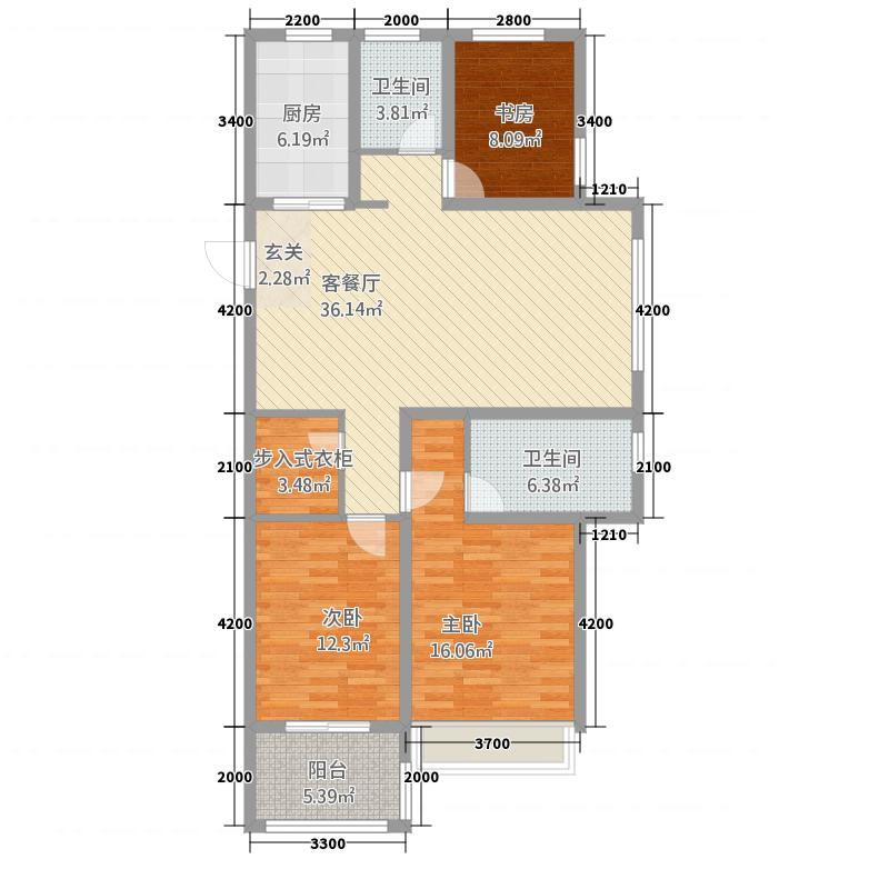 锦绣江南12126.20㎡1#、2#高层H户型3室2厅2卫1厨