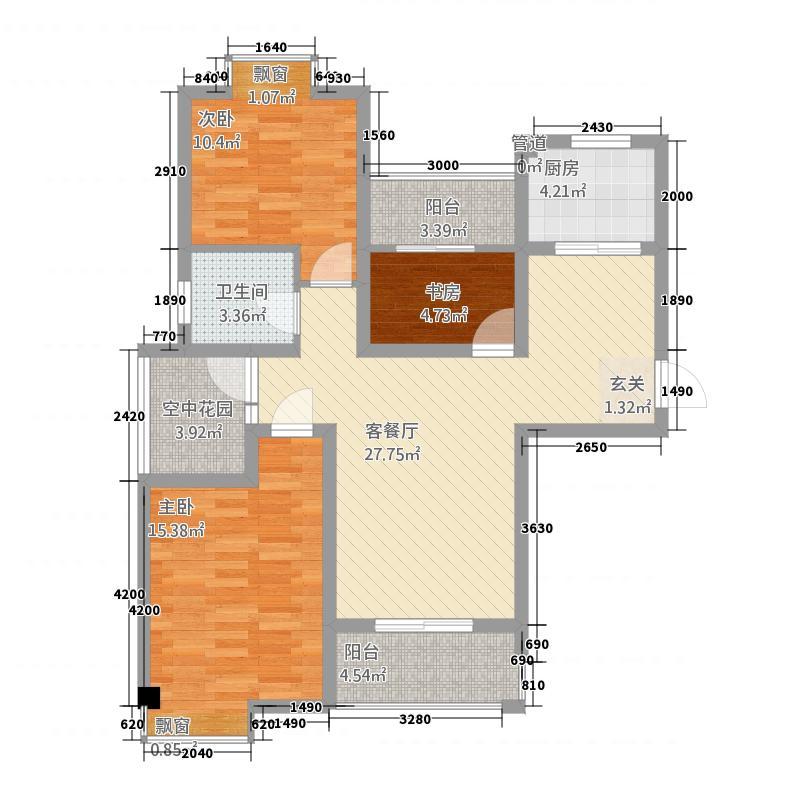 东方明珠嘉苑112.12㎡E1户型4室2厅1卫1厨