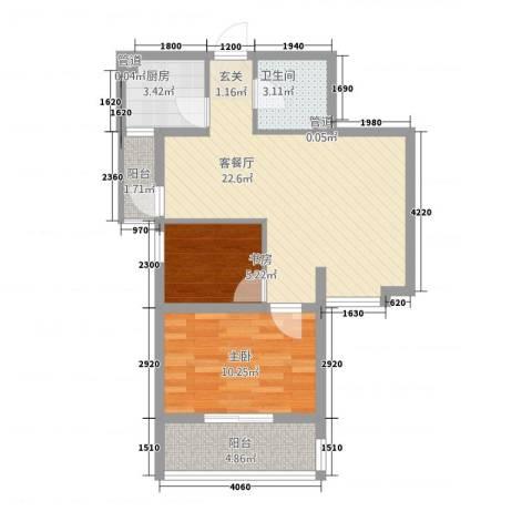 双威理想城二期2室1厅1卫1厨75.00㎡户型图