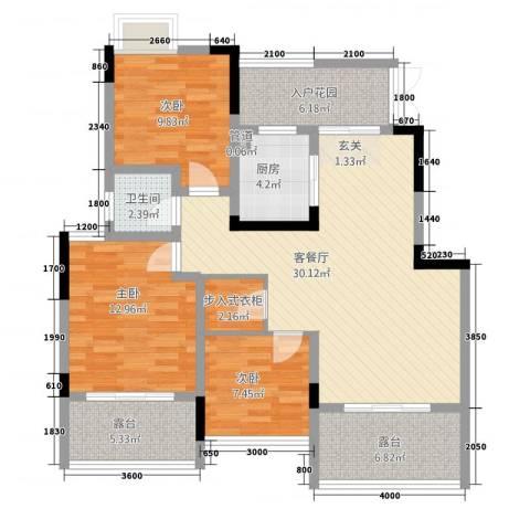祥瑞・香山缘3室1厅1卫1厨87.50㎡户型图