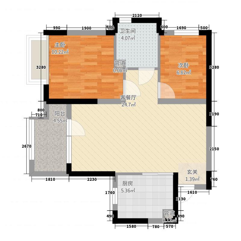 金地格林小城281.12㎡一期A2'户型2室2厅1卫1厨