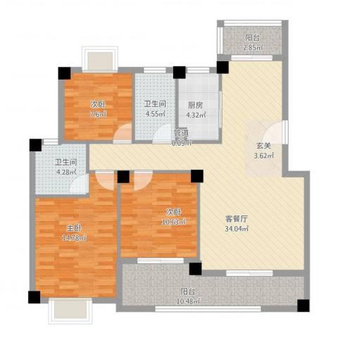 未来海岸系蓝水郡3室1厅2卫1厨133.00㎡户型图