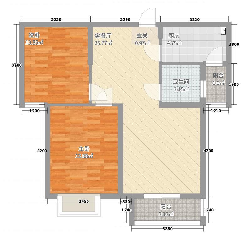 天门世贸中心28.20㎡A2户型2室2厅1卫1厨