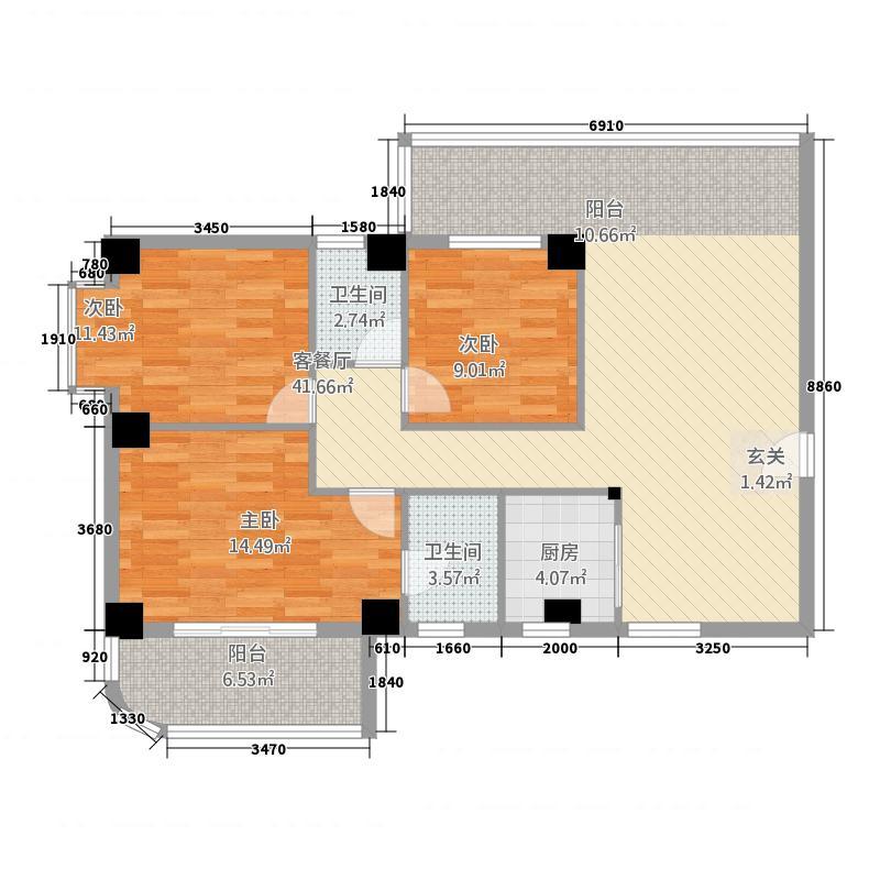 江滨双玺131.50㎡6#楼D户型3室2厅2卫1厨
