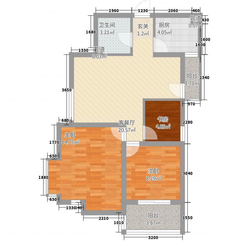 双威理想城二期88.27㎡D户型3室2厅1卫1厨