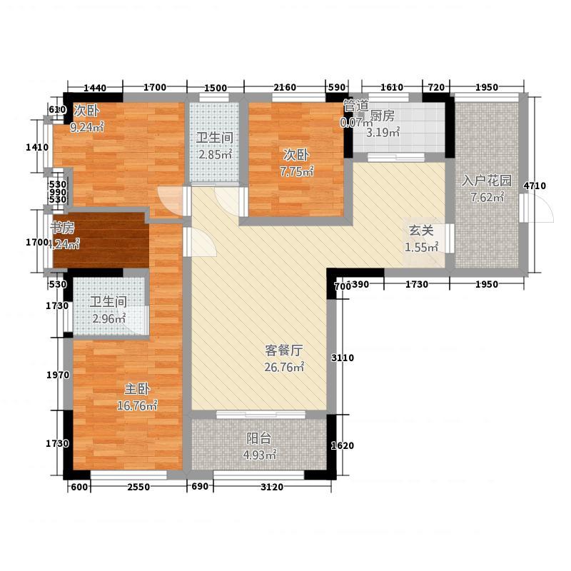 长兴都汇13121.20㎡A1户型3室2厅2卫1厨
