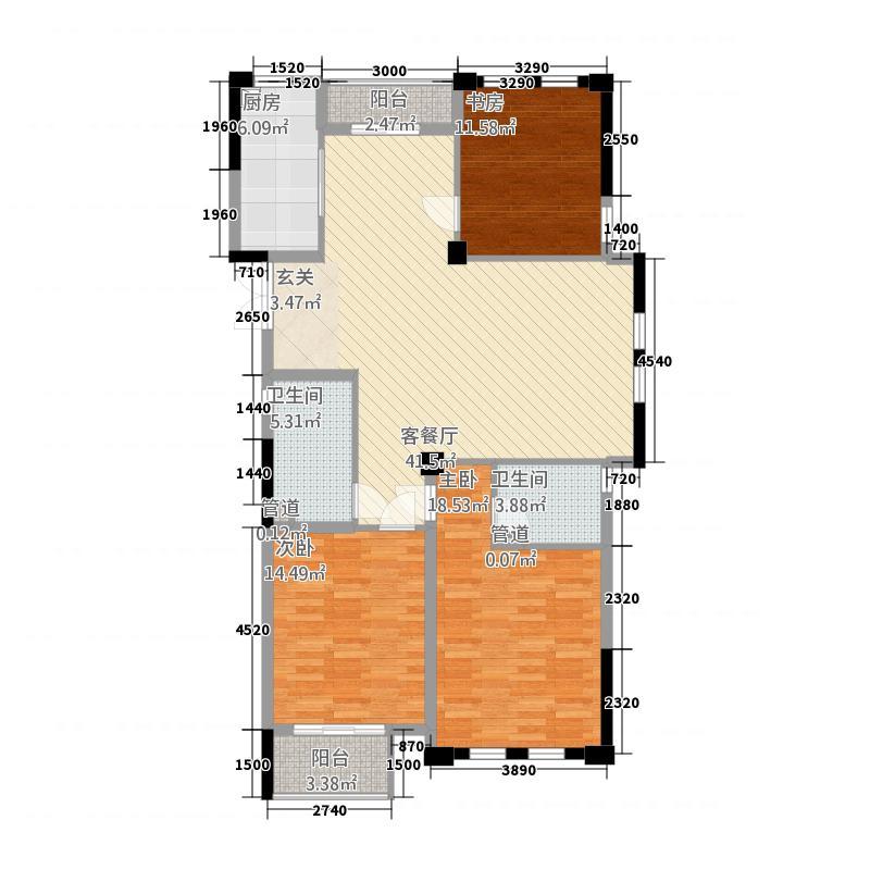 金城华府4141.20㎡高层G4户型3室2厅2卫1厨