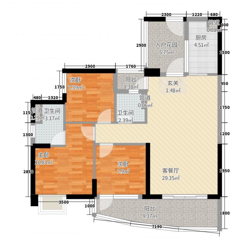 晟大海湾城11.63㎡01单元C13室户型3室2厅2卫1厨