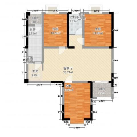 曼哈顿MOMA国际社区3室1厅1卫1厨86.70㎡户型图