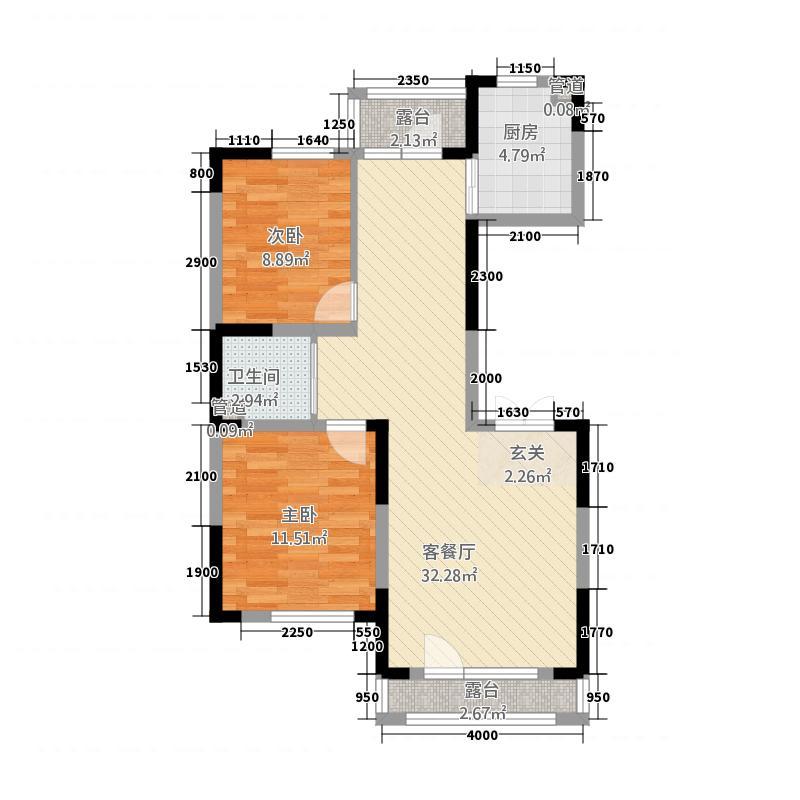 金色橄榄城72.61㎡二期DM-7-b户型2室2厅1卫1厨