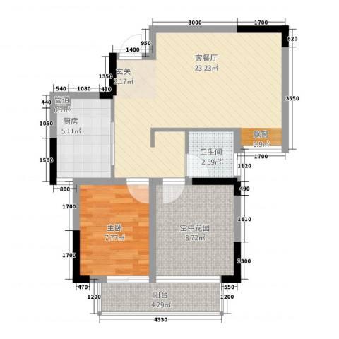 金域城邦1室1厅1卫1厨1262.00㎡户型图