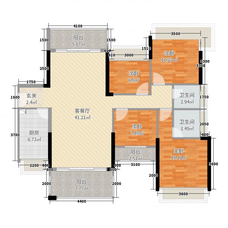 君汇名城2112.33㎡21幢标准层05户型4室2厅2卫1厨